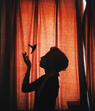 Silhouette Of Girl With Hummingbird