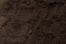 Black Land For Plant Background. Top View.