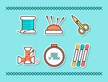 Vector Set Of Hand Made Stickers. Embroidery Stuff. Floss, Thread, Needles, Scissors, Pincushion, Hoop, Bobbin, Cross Stitches