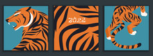 Set Of Colourful Tigers In Abstract Style. Modern Greeting Card, Poster. Hunting Tigers In Asian Style. Chinese 2022 Year Sign. Year Of The Tiger 2022 Japanese New Year Card. Vector Illustration Print