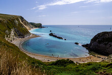 Beautiful View Of  A Coast And Sea Waves Of Dorset AONB Dorchester In UK