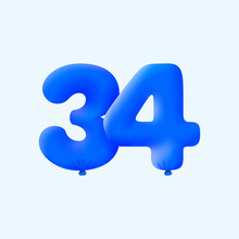 Blue 3D Number 34 Balloon Realistic 3d Helium Blue Balloons. Vector Illustration Design Party Decoration, Birthday,Anniversary,Christmas, Xmas,New Year,Holiday Sale,celebration,carnival,inflatable