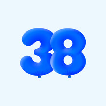 Blue 3D Number 38 Balloon Realistic 3d Helium Blue Balloons. Vector Illustration Design Party Decoration, Birthday,Anniversary,Christmas, Xmas,New Year,Holiday Sale,celebration,carnival,inflatable
