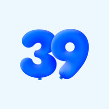 Blue 3D Number 39 Balloon Realistic 3d Helium Blue Balloons. Vector Illustration Design Party Decoration, Birthday,Anniversary,Christmas, Xmas,New Year,Holiday Sale,celebration,carnival,inflatable