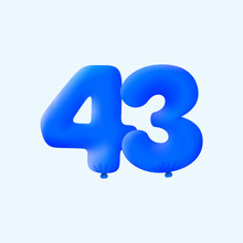 Blue 3D Number 43 Balloon Realistic 3d Helium Blue Balloons. Vector Illustration Design Party Decoration, Birthday,Anniversary,Christmas, Xmas,New Year,Holiday Sale,celebration,carnival,inflatable