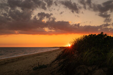 Sunrise Over The Rosehip Bushes On South Cape Beach In Mashpee On Cape Cod