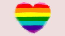Heart Shaped Rainbow Pride LGBT  Flag