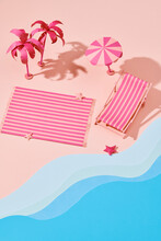 Aerial View Of Summer Beach In Paper Craft Style
