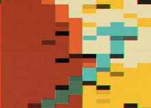 Minimalistic Red Planet Pixel Glitch