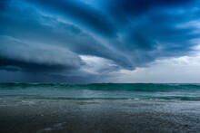 Large Shelf Cloud Of A Storm Over The Ocean