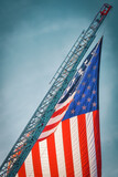 Amer Flag Hangs from Firefighter's Ladder 9-11 20 Years Later