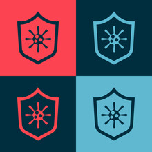 Pop Art Shield Protecting From Virus, Germs And Bacteria Icon Isolated On Color Background. Immune System Concept. Corona Virus 2019-nCoV. Vector