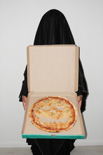Ghost Showing Pizza For Halloween