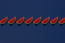 Cute Watermelon Slice Design On Blue Background Seamless Pattern