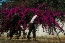 Woman In Hat And The Bougainvillea