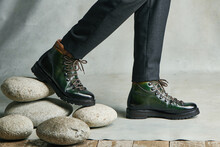 Mens Boots On A Gray Background