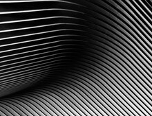 Metallic Structure In The Shape Of Waves, In Black And White, With Fine Art Processing