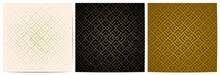 Set Of Abstract Geometric Pattern With Golden Lines.Luxury Of Black,white,and Gold Background Square Shape