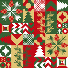 Christmas Abstract Geometric Mosaic Background With Holiday Simple Shapes Elements. Christmas Seamless Pattern. Vector Illustration, Flat Style. Texture, Wrapping Paper, Branding, Fabric, Gift Packag