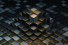 Dark Blue And Gold Cubes