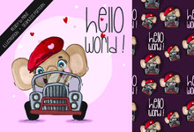 Cute Animal Elephant Riding Car Seamless Pattern: Can Be Used For Cards, Invitations, Baby Shower, Posters; With White Isolated Background