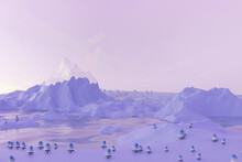 Low Poly Neon Pastel Mountains, Forest And Clouds.