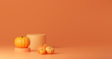 3d Layout Halloween Scene With Product Podium On Orange Background. Pumpkins Stage With Display Podium. Autumn 3d Design Template For Banner, Advertisement Mockup For Halloween Or Thanksgiving