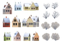 Set Of Rural Houses. Winter Season. Bare Trees. Roof Is Covered With Snow. Gable Roof Outbuilding. Nice And Cozy Suburban Private Home. Flat Cartoon Style. Vector Art