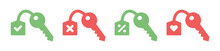 Collection Of Keys Icon. Containing Key With Check Mark, Cross Mark, Discount Tag And Love Icon Vector Illustration