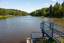 Large City Pond On The Stradalovka River In The Town Of Balabanovo, Kaluzhskiy Region, Russia. View From The Sluice On The Dam