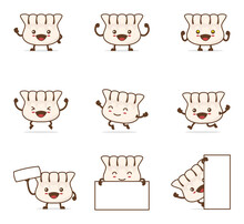 Cute Dumplings Cartoon Character. With Happy Facial Expressions And Different Poses
