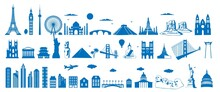 World Famous Architecture Landmarks Silhouettes, Vector Illustration. Travel, Tourist Attractions, Monuments. Eiffel Tower, Big Ben, Statue Of Liberty, Taj Mahal, Sydney Opera House, Egypt Pyramid