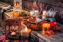 Beautiful Autumn Terracce Decoration With Pumpkins, Lantern, Plants And Flowers