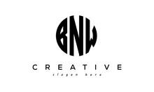 Letter BNW Creative Circle Logo Design Vector