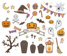 ハロウィンのイラスト。カボチャ、お墓、キャンディなど。他にもいろいろなアイテムをセットにしています。