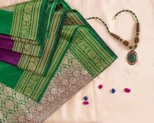 Traditional Indian Silk Saree. Indian Silk Fabric Clothing. Banarasi Silk