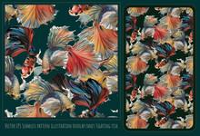 Seamless Patterns Polygonal Fancy Betta Fighting Fish.
