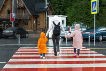 Back View Of Young Adult Mother Hold Daughter And Son Hand Crossing Zebra Crosswalk Road Hiking At Mountain Village During Shower Rain At Atumn Day. People Walking Crossroad. Children Traffic Safety