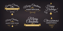 Set Of Christmas Logotype Or Insignia. Merry Xmas And Happy New Year.