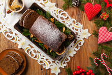 Homemade Gingerbread Cake. Christmas Decoration. Top View. Natural Wooden Background.