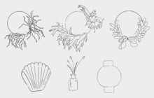 A Set Of Seven Line Art Drawings. Modern Hand Drawn Icons. Black Outlines Of Plants, Leaves, Rings, Ceramics, Vases, Feathers. Design Elements For Decorating A Flower Shop.