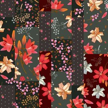 Patchwork Seamless Pattern With Beautiful Lily Flowers. Quilt Design With Decorative Floral Patches. Fashion Print For Fabric.