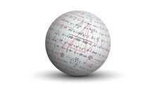 Background For A Geometry Presentation. Drawings And Formulas For Geometry On An Isolated Ball. A White Three-dimensional Sphere With A Graphic Image Of The Paper Texture And A Set Of Formulas.