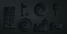 Set Big Ben Tower, Four Leaf Clover, Coin Money With Pound, Golf Club Ball Tee, British Breakfast And Flag Icon. Vector