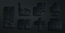 Set Road Traffic Signpost, Magic Ball On Table, Tarot Cards, Arcade Game Machine, Game Dice And Bumper Icon. Vector