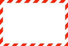 赤色のストライプフレーム。中心に白のコピースペースがあるフレーム素材。