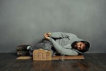 Homeless Bearded Man On Earth Begging Money Problem