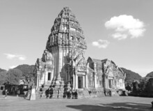 Monochrome Image Of Prasat Hin Phimai, Stunning Ancient Khmer Temple Complex In Nakhon Ratchasima Porvince, Thailand