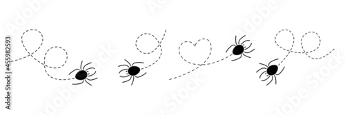 Canvas Print Spider on a dotted line route set