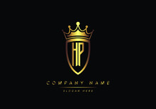 Alphabet Letters HP Monogram Logo, Gold Color, Shield Style, Luxury Style, Vector Illustration